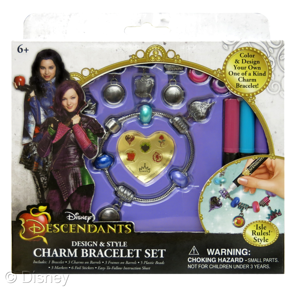 "Descendants Design & Style Charm Bracelet Set, $8.99 each Retailers: Toys ""R"" Us & Kohl's Available: August 15"