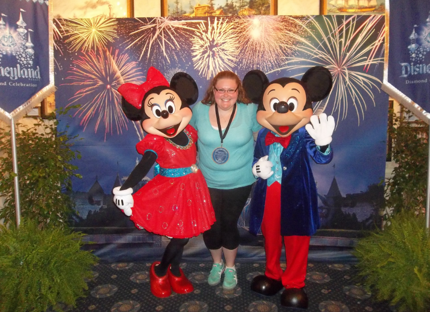 Mickey and Minnie surprised us at lunch! (In my mind, I was high-fiving my 5-year-old self so hard when they took this photo.)
