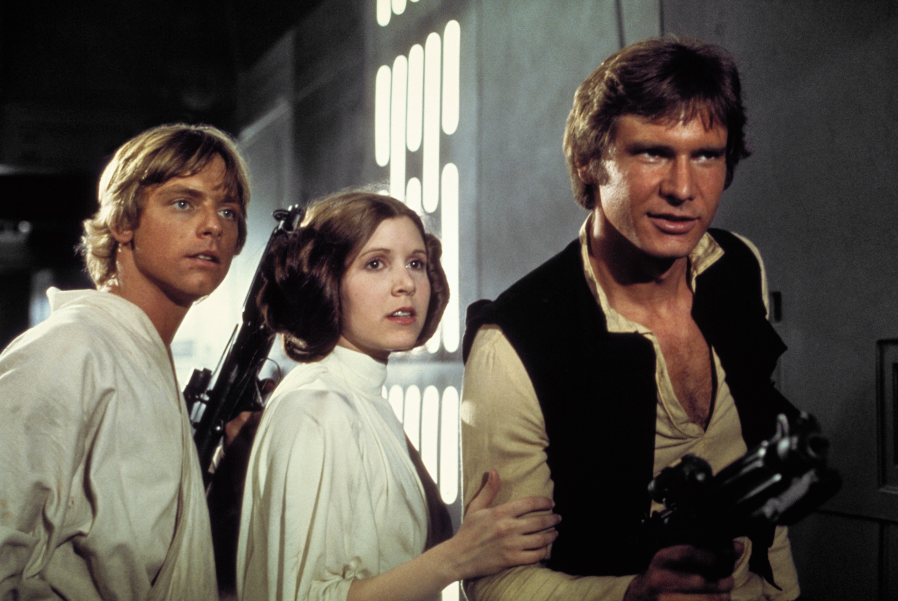Mark Hamill, Carrie Fisher, Harrison Ford in Star Wars (1977)