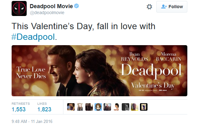 Deadpool Has Revealed This Seriously Romantic New Banner Welcome
