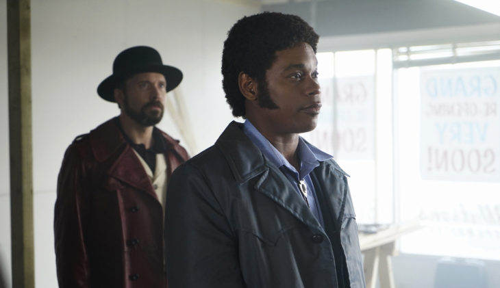 """FARGO -- """"Before The Law"""" -- Episode 202 (Airs October 19, 10:00 pm e/p) Pictured: (l-r) Brad Mann as Gale Kitchen, Bokeem Woodbine as Mike Milligan. CR: Chris Large/FX"""