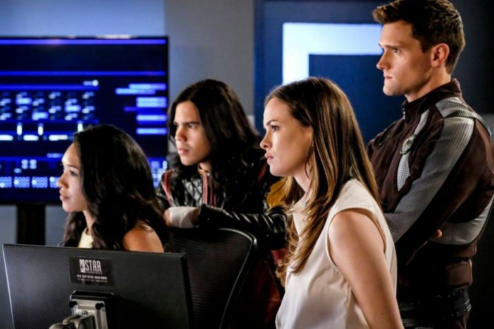 The Flash Team: Iris, Vibe, Caitlin and Elongated Man
