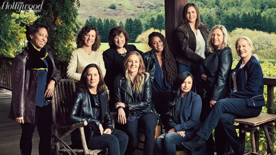 Photographed by Christopher Patey From left, front row: Kathleen Kennedy, Jacqui Lopez and Athena Portillo. From left, back row: Rhonda Hjort, Janet Lewin, Lori Aultman, Rayne Roberts, Kayleen Walters, Vicki Dobbs Beck and Pippa Anderson photographed by Christopher Patey on Nov. 19 at Skywalker Ranch in Nicasio, Calif.