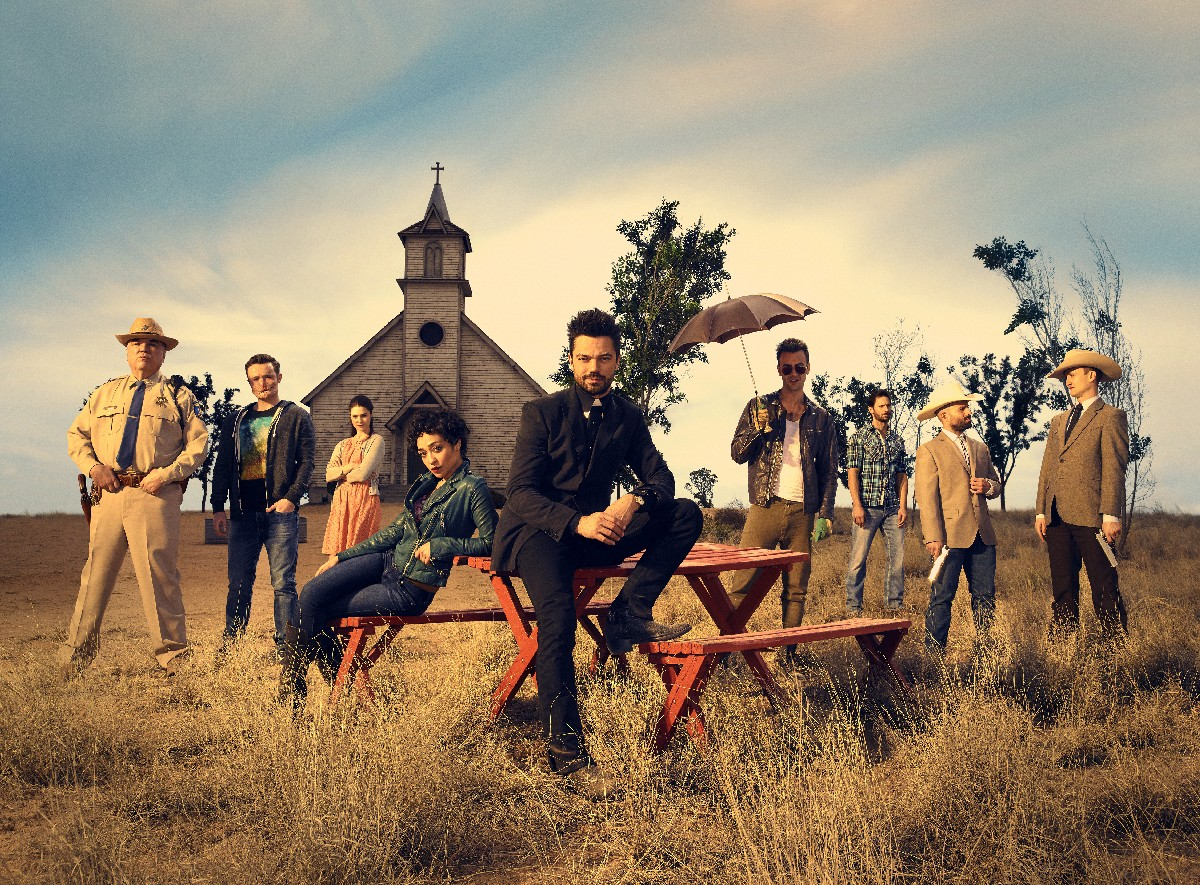 W. Earl Brown as Sheriff Hugo Root, Ian Colletti as Eugene Root, Lucy Griffiths as Emily, Ruth Negga as Tulip O'Hare, Dominic Cooper as Jesse Custer, Joseph Gilgun as Cassidy, Derek Wilson as Donnie Schenck, Anatol Yusef as DeBlanc, Tom Brooke as Fiore; group - Preacher _ Season 1, Gallery - Photo Credit: Matthias Clamer/AMC
