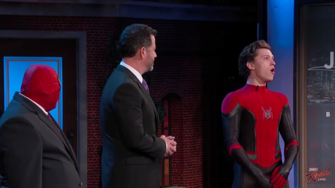 Tom Holland visits Jimmy Kimmel Live! to debut the new Spider-Man suit